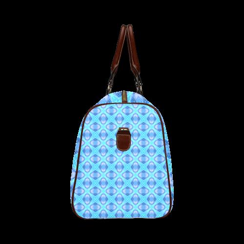 Abstract Circles Arches Lattice Aqua Blue Waterproof Travel Bag/Large (Model 1639)