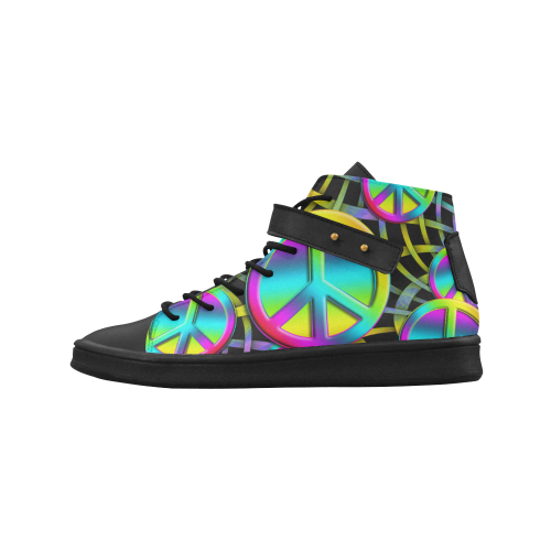 Neon Colorful PEACE pattern Lyra Round Toe Women's Shoes (Model 310)