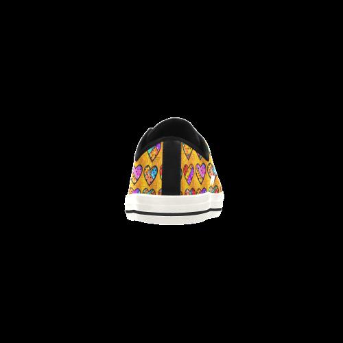 Orange Popart Heart by Nico Bielow Aquila Microfiber Leather Women's Shoes (Model 028)