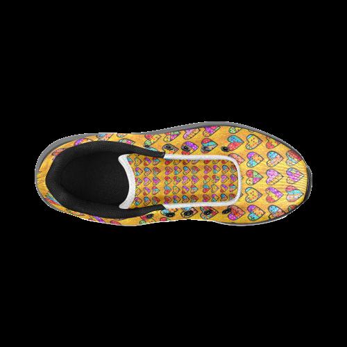 Orange Popart Heart by Nico Bielow Men's Running Shoes (Model 020)