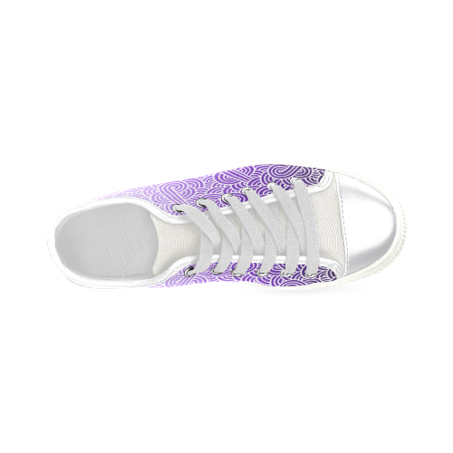 Ombre purple and white swirls doodles Women's Classic Canvas Shoes (Model 018)
