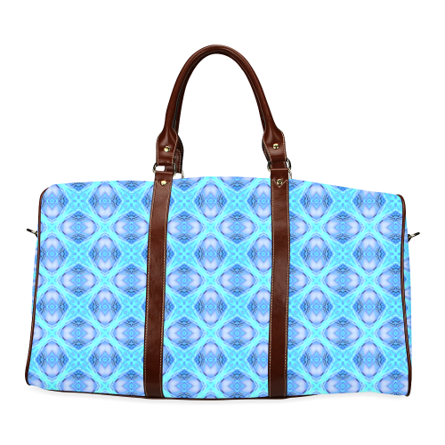Abstract Circles Arches Lattice Aqua Blue Waterproof Travel Bag/Large (Model 1639)