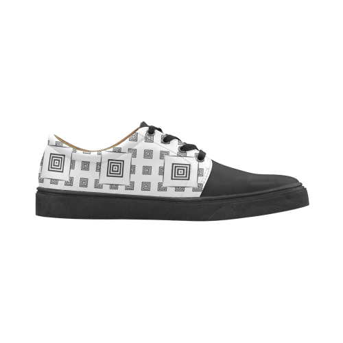 Solid Squares Frame Mosaic Black & White Cygnus Pointed Toe Women's Shoes (Model 303)