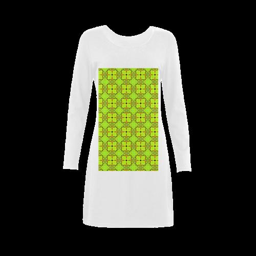 Lime Gold Geometric Squares Diamonds Demeter Long Sleeve Nightdress (Model D03)