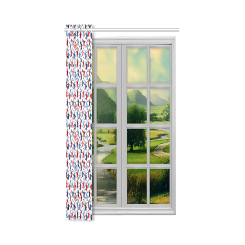 "stars red blue white New Window Curtain 52"" x 72""(One Piece)"