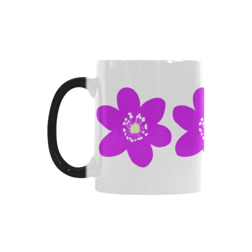 Red Anemone Hepatica. Inspired by the Magic Island of Gotland. Custom Morphing Mug