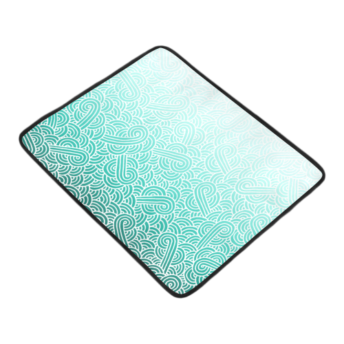 """Ombre turquoise blue and white swirls doodles Beach Mat 78""""x 60"""""""