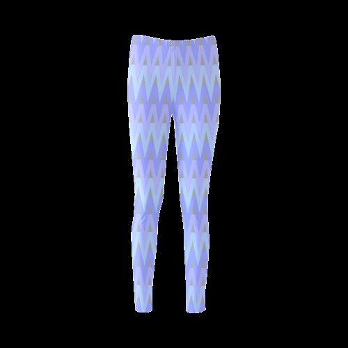 Cool Blues and Chevrons Cassandra Women's Leggings (Model L01)