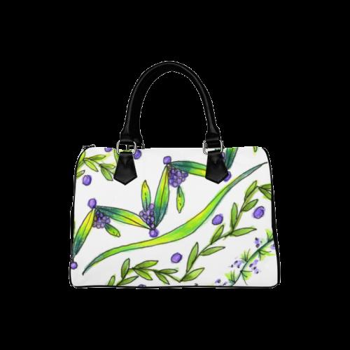 Dancing Greeen, Purple Vines, Grapes Zendoodle Boston Handbag (Model 1621)