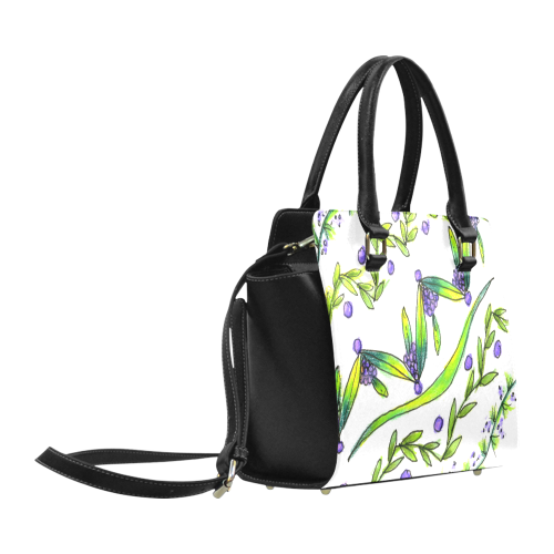 Dancing Greeen, Purple Vines, Grapes Zendoodle Classic Shoulder Handbag (Model 1653)