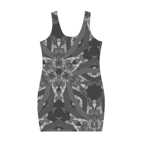 Zandine 0206 dark vintage floral pattern Medea Vest Dress (Model D06)