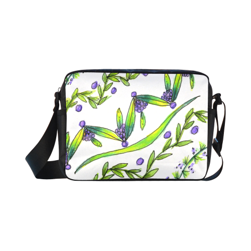 Dancing Greeen, Purple Vines, Grapes Zendoodle Classic Cross-body Nylon Bags (Model 1632)