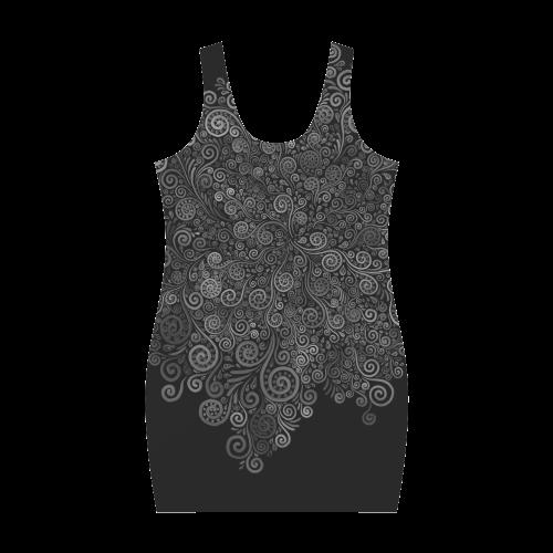Black and White Rose Medea Vest Dress (Model D06)