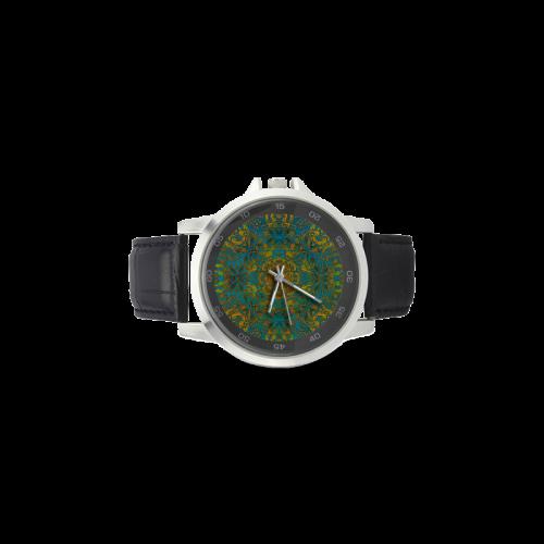 Magic mandala 2 Unisex Stainless Steel Leather Strap Watch(Model 202)