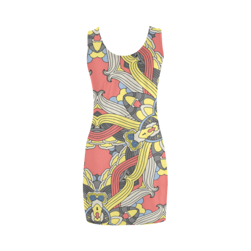 Zandine 0201 pink yellow vintage floral pattern Medea Vest Dress (Model D06)