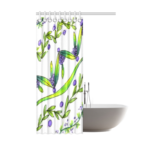 "Dancing Greeen, Purple Vines, Grapes Zendoodle Shower Curtain 48""x72"""