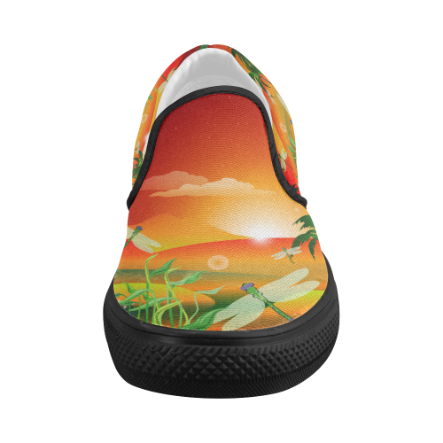 Cartoon fantasy world with dragonflies Women's Slip-on Canvas Shoes (Model 019)