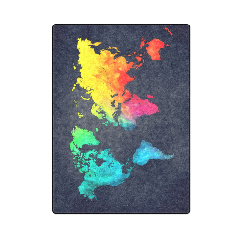 "world map Blanket 58""x80"""
