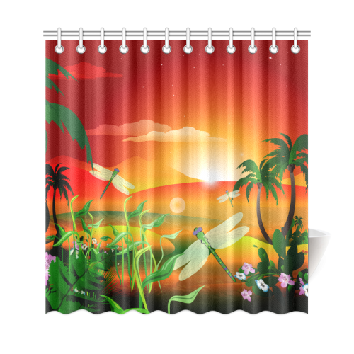 Cartoon Fantasy World With Dragonflies Shower Curtain