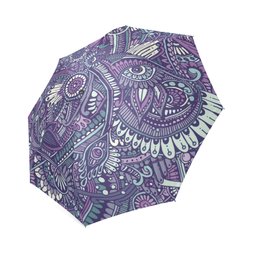 zz0102 purple hippie flower pattern Foldable Umbrella (Model U01)