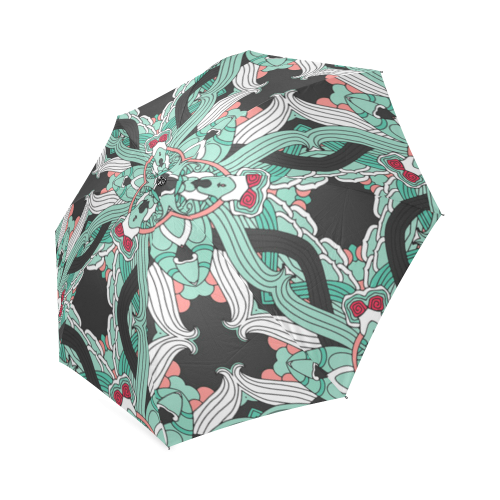 Zandine 0207 vintage green floral pattern Foldable Umbrella (Model U01)