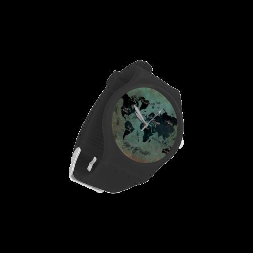 world map Unisex Round Rubber Sport Watch(Model 314)