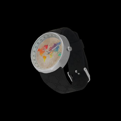 world map Men's Resin Strap Watch(Model 307)