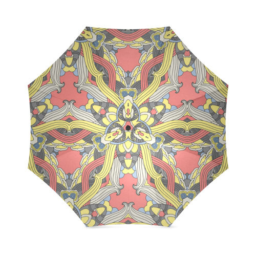 Zandine 0201 pink yellow vintage floral pattern Foldable Umbrella (Model U01)