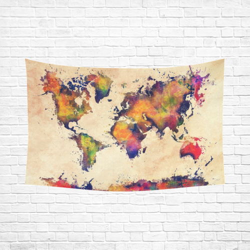 """world map Cotton Linen Wall Tapestry 90""""x 60"""""""