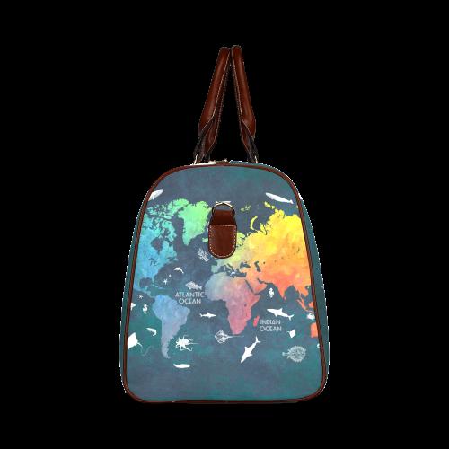 world map Waterproof Travel Bag/Large (Model 1639)