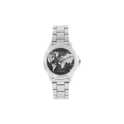 world map Unisex Stainless Steel Watch(Model 103)
