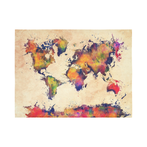 """world map Cotton Linen Wall Tapestry 80""""x 60"""""""