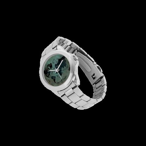 world map Unisex Stainless Steel Watch(Model 103)