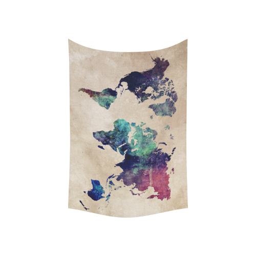 """world map Cotton Linen Wall Tapestry 60""""x 40"""""""