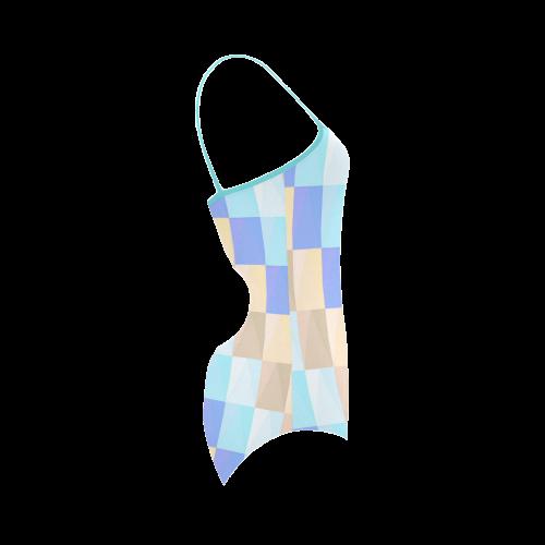 Pastel Blues Squares Strap Swimsuit ( Model S05)