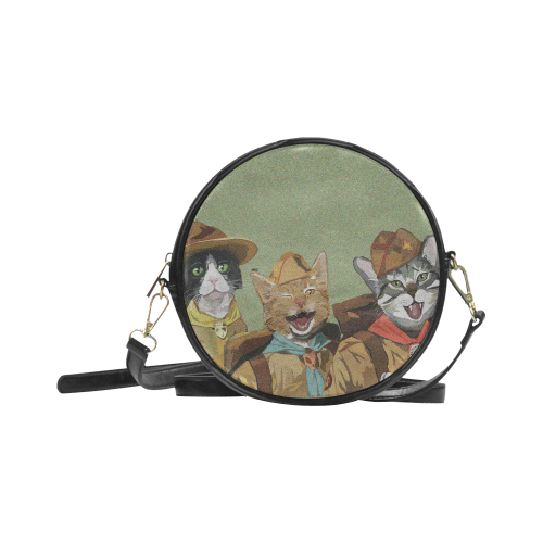 Cat Scouts Round Cat Messenger Bag Round Sling Bag (Model 1647)