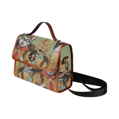 Cat Scouts Waterproof Canvas Bag Waterproof Canvas Bag/All Over Print (Model 1641)