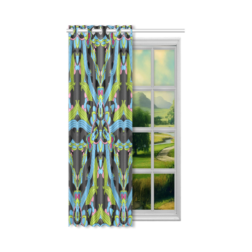"Zandine 0202 blue green floral pattern New Window Curtain 52"" x 63""(One Piece)"
