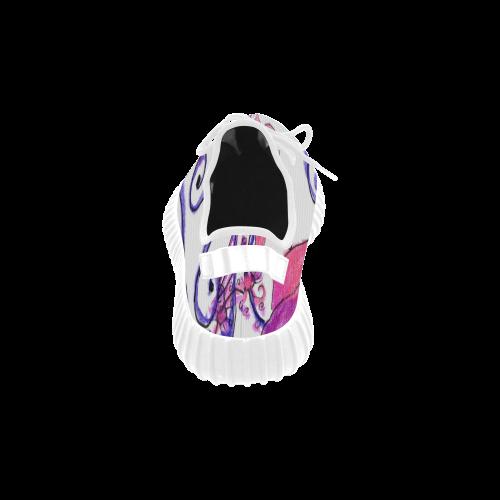Pink Flower Garden Zendoodle, Purple Gardenscape Grus Women's Breathable Woven Running Shoes (Model 022)