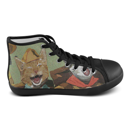 Cat Scouts High Top Canvas Cat Shoes Women's High Top Canvas Shoes (Model 002)