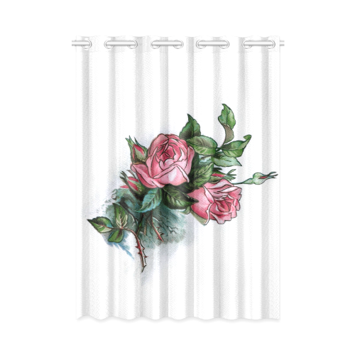 """Roses Vintage Floral New Window Curtain 52"""" x 72""""(One Piece)"""
