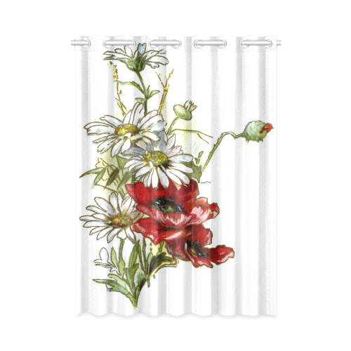 "Vintage Floral Daisies Poppies New Window Curtain 52"" x 72""(One Piece)"