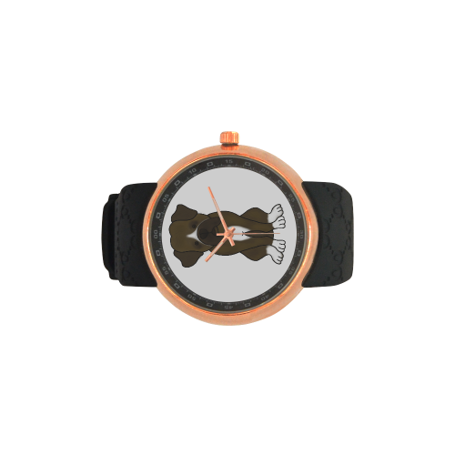 Boxer Puppy Dog Men's Rose Gold Resin Strap Watch(Model 308)