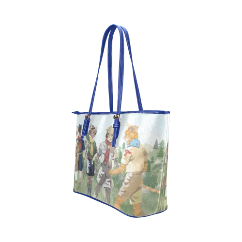 Cat Scouts Tote Leather Tote Bag/Small (Model 1651)