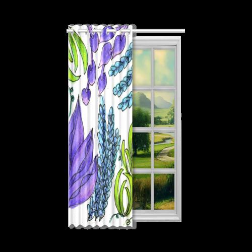 "Purple Green Blue Flower Garden, Dancing Zendoodle New Window Curtain 52"" x 84""(One Piece)"