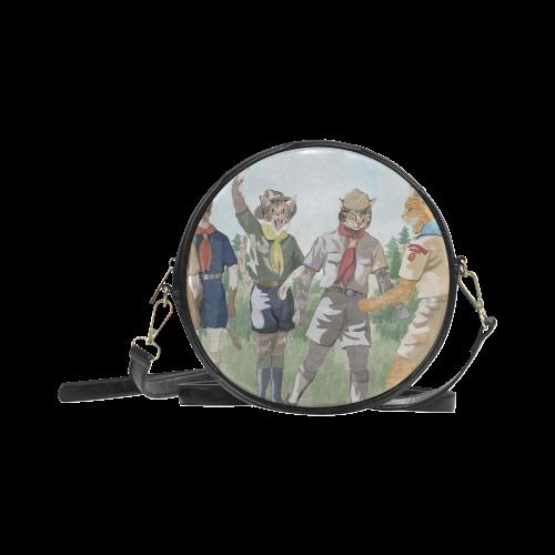 Cat Scouts International Round Messenger Cat Bag Round Sling Bag (Model 1647)
