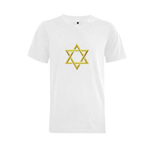 Judaism Symbols Golden Jewish Star of David Men's V-Neck T-shirt (USA Size) (Model T10)