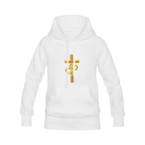 Christian Symbols Golden Cross with 2 Hearts Men's Classic Hoodies (Model H10)