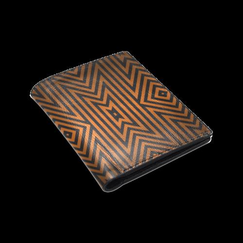Aztec Pattern (Orange/Black) Men's Leather Wallet (Model 1612)