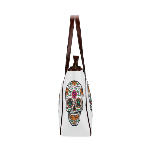 Colorful floral sugar skull Classic Tote Bag (Model 1644)